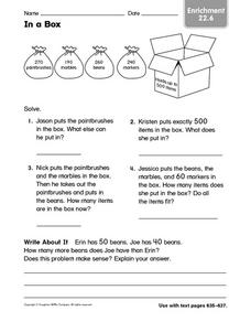 In a Box: Enrichment Activity Worksheet