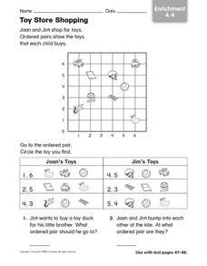 Toy Store Shopping: Graphing Enrichment Worksheet