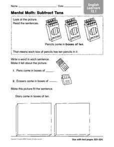 Mental Math: Subtract Tens English Learners 12.1 Worksheet