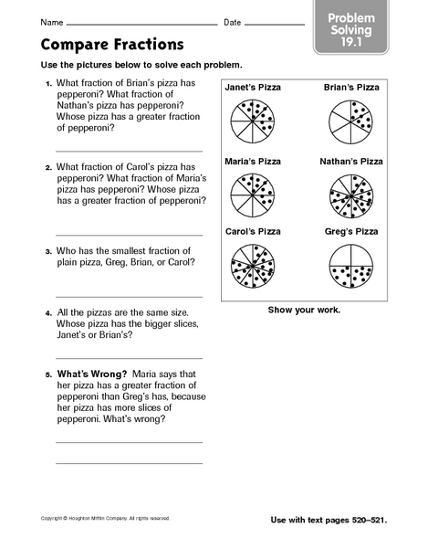 compare fractions problem solving 19 1 worksheet for 3rd. Black Bedroom Furniture Sets. Home Design Ideas