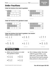 Order Fractions: Practice Worksheet