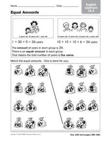 Equal Amounts: English Learners Worksheet