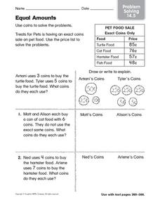 Equal Amounts: Problem Solving Worksheet