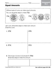 Equal Amounts: Homework Worksheet