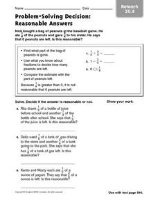 Problem-Solving Decision: Reasonable Answers Reteach 20.4 Worksheet