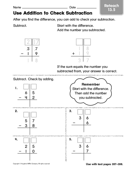 use addition to check subtraction  reteaching worksheet for nd   use addition to check subtraction  reteaching worksheet