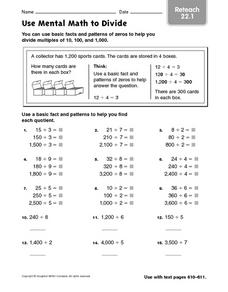 Use Mental Math to Divide reteach 22.1 Worksheet