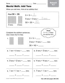Mental Math: Adding 10s Worksheet