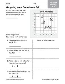 Graphing on a Coordinate Grid Problem Solving 4.4 Worksheet