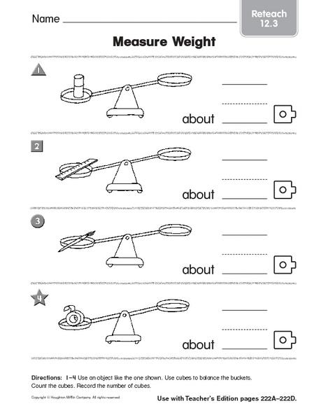 measure weight reteach worksheet for 1st 3rd grade lesson planet. Black Bedroom Furniture Sets. Home Design Ideas