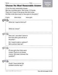 Choose the Most Reasonable Answer: Problem Solving Worksheet