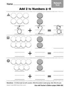 Add 2 to Numbers 6-8 Reteach 13.4 Worksheet