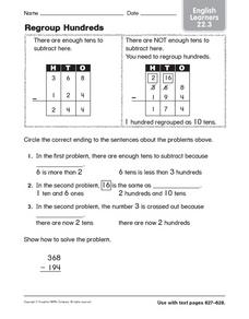 Regroup Hundreds English Learners 22.3 Worksheet