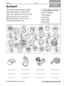 Be Exact: Coin Enrichment Worksheet