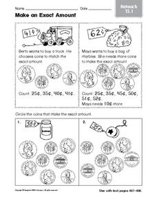 Make an Exact Amount: Reteach Worksheet