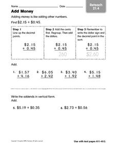 Add Money: Reteach Worksheet