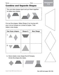Combine and Separate Shapes: Homework Worksheet