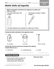 Metric Units of Capacity Homework 14.3 Worksheet