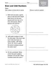 Even and Odd Numbers - Problem Solving Worksheet