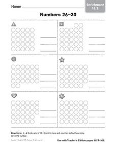 Enrichment: Counting on Numbers from 20 to 30 Worksheet