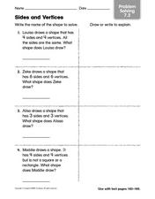 Sides and Vertices - Problem Solving Worksheet