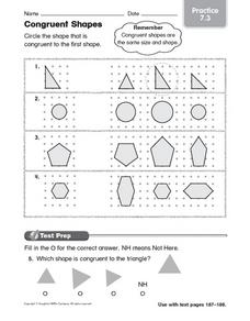 Congruent Shapes Practice 7.3 Worksheet
