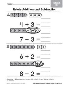 Relate Addition and Subtraction Reteach 14.7 Worksheet