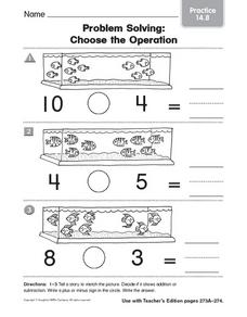 Problem Solving: Choose the Operation Practice 14.8 Worksheet