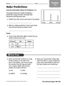 Make Predictions Practice 7.5 Worksheet