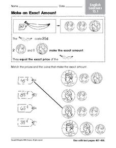 Make an Exact Amount: English Learners Worksheet