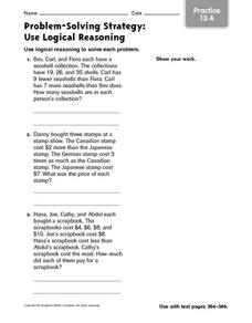 Problem-Solving Strategy: Use Logical Reasoning Practice 13.4 Worksheet