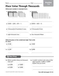 Place Value Through Thousands Practice 1.4 Worksheet