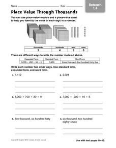 Place Value Through Thousands - Reteach 1.4 Worksheet