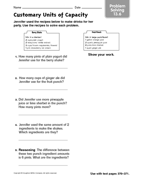 customary units of capacity problem solving 13 6 worksheet for 2nd 3rd grade lesson planet. Black Bedroom Furniture Sets. Home Design Ideas