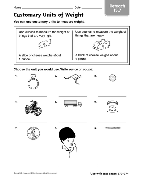 Customary Units of Weight Reteach 13.7 2nd - 3rd Grade Worksheet ...