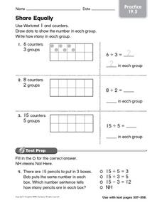 Share Equally Practice 19.5 Worksheet