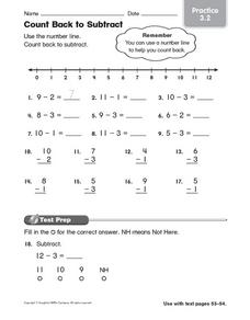 Count Back to Subtract: Practice 3.2 Worksheet