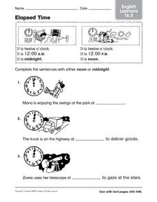 Elapsed Time: Noon or Midnight? Worksheet