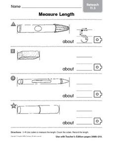 Measure Length: Reteach Worksheet for 1st - 2nd Grade | Lesson Planet