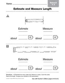 Estimate and Measure Length: Reteach Worksheet