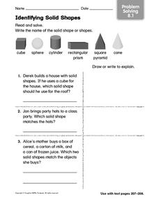 Identifying Solid Shapes: Problem Solving Worksheet
