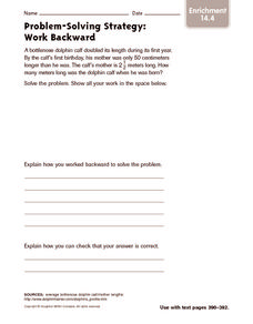 Problem-Solving Strategy: Work Backward: Enrichment Worksheet