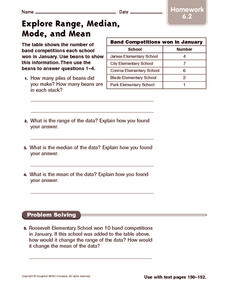 Explore Range, Median, Mode, and Mean: Homework Worksheet