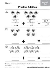 Practice Addition: Reteach Worksheet