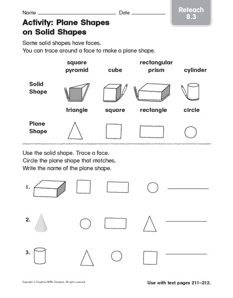 Activity Plane Shapes On Solid Shapes Reteach Worksheet