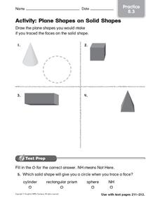 Activity: Plane Shapes on Solid Shapes: Practice Worksheet