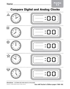 Compare Digital and Analog Clocks: Practice Worksheet