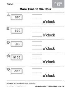 More Time to the Hour practice 9.8 Worksheet