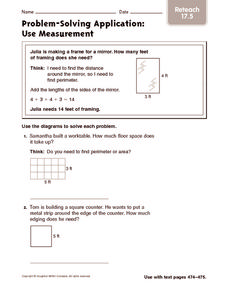 Problem-Solving Application: Use Measurement: Reteach Worksheet