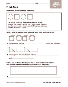 Find Area: English Learners Worksheet